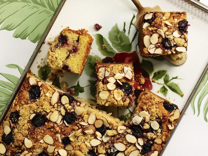 "Moist and fruity with a crunchy, crumbly topping, this [sour cream and cherry coffee cake](https://www.womensweeklyfood.com.au/recipes/sour-cream-and-cherry-coffee-cake-with-almond-crumble-9771|target=""_blank"") with almond crumble is delicious."
