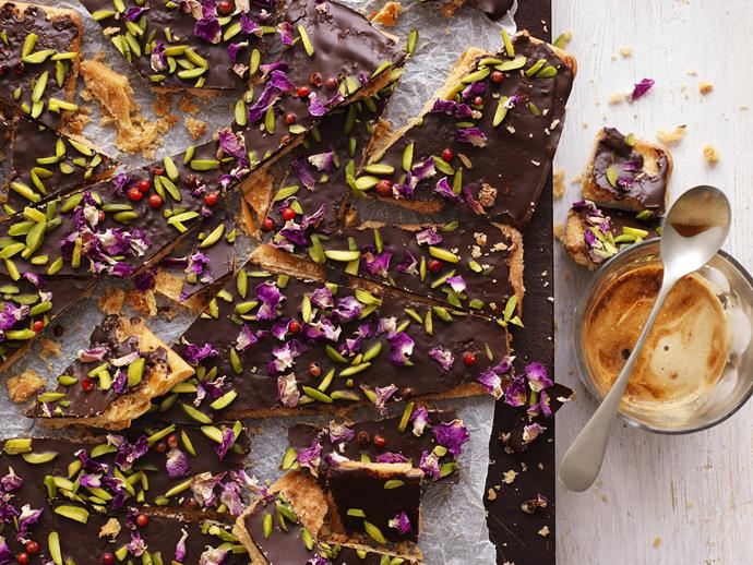 "**[Pistachio, pink pepper & rose petal bark](https://www.womensweeklyfood.com.au/recipes/pistachio-pink-pepper-and-rose-petal-bark-3860|target=""_blank"")**  These pretty shards may look and taste like you've spent a long time in the kitchen but in fact they're a brilliant cheat's cookie, utilising bought savoury crackers, dark chocolate and a sprinkling of exotic ingredients."