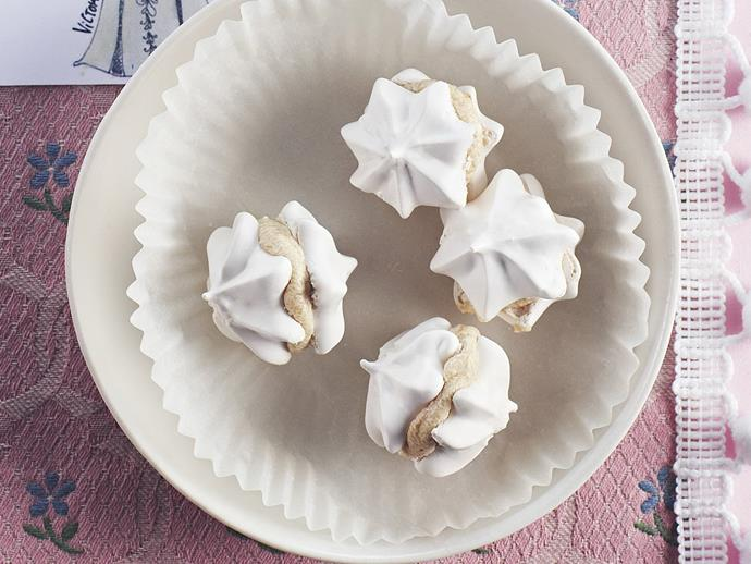"**[Coffee meringue kisses](https://www.womensweeklyfood.com.au/recipes/coffee-meringue-kisses-9784|target=""_blank"")**  Coffee buttercream sandwiched between delicate crumbly meringue makes a simple, sweet treat perfect for coffee lovers."