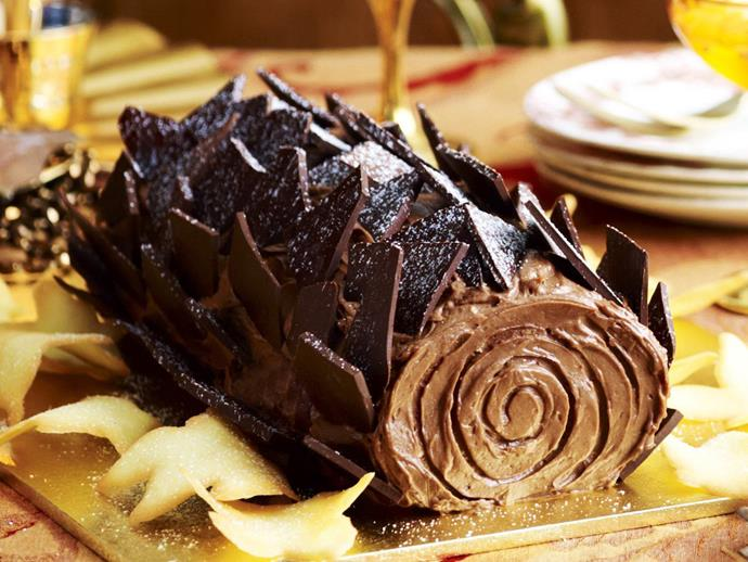"**Women's Weekly's Christmas Yule log cake** <br><br> Our yule log cake recipe is perfect for celebrating the Christmas season. It's a delicious vanilla cake filled with hazelnut cream and decorated with chocolate ganache. <br><br> [**Read the full recipe here**](https://www.womensweeklyfood.com.au/recipes/yule-log-9794|target=""_blank"")"