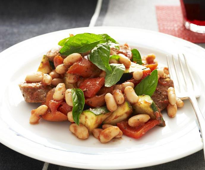 OVEN-BAKED LAMB SAUSAGES, BEANS & TOMATOES