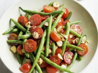 bean and tomato salad with mustard hazelnut dressing