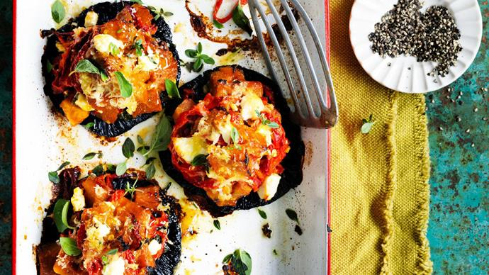 pumpkin, capsicum and fetta stuffed mushrooms