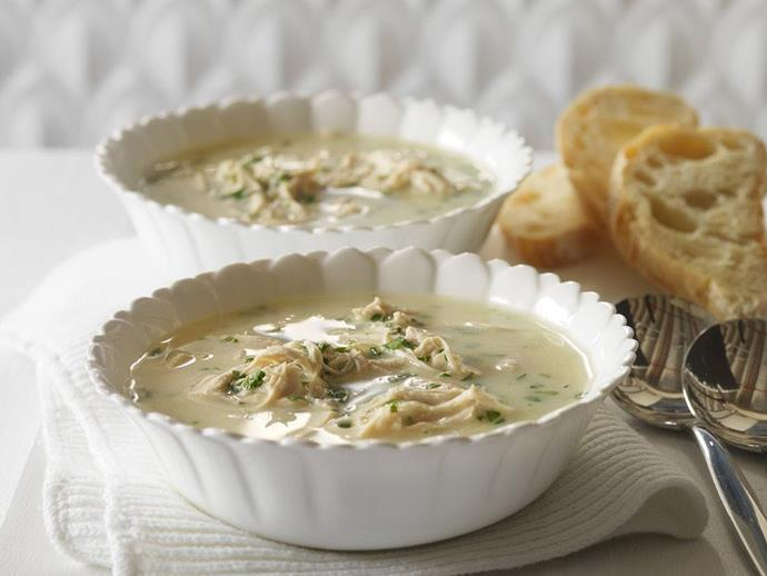 "**[Cream of chicken soup](https://www.womensweeklyfood.com.au/recipes/cream-of-chicken-soup-9846|target=""_blank"")**  Lemon juice gives this cream of chicken soup a citrus lift, cutting through the richness of the soup."