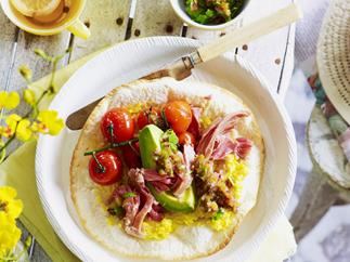 tortilla with corn, ham hock and coriander jalapeño salsa