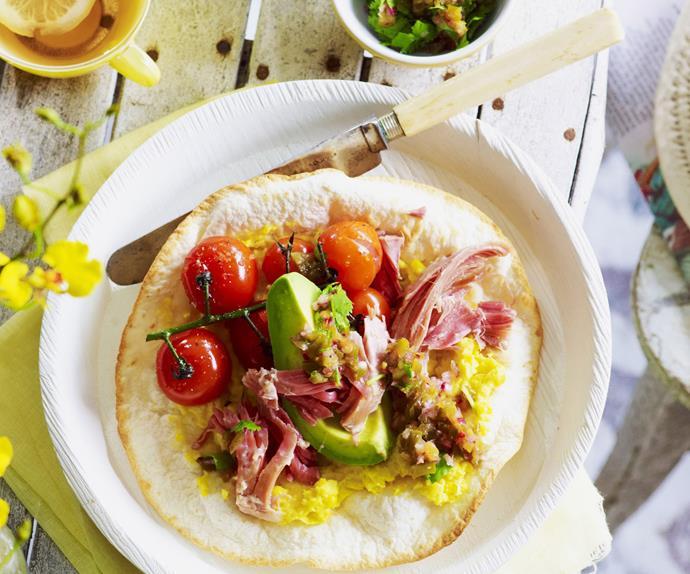 tortilla with corn, ham hock and coriander jalapeño salsa