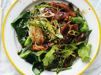sticky chicken with noodles