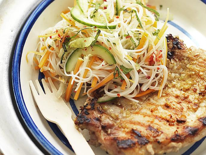 "Tangy and fragrant [Vietnamese pork steaks with noodle salad](https://www.womensweeklyfood.com.au/recipes/vietnamese-pork-steaks-with-noodle-salad-9885|target=""_blank"")"