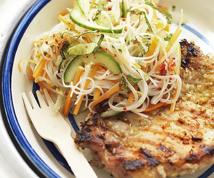 vietnamese pork steaks with noodle salad