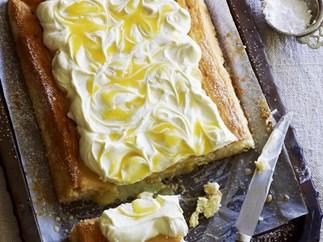 three-milk cake with lemon curd and cream