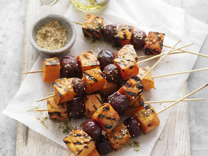 """[Dukkah beetroot & kumara skewers.](https://www.womensweeklyfood.com.au/recipes/dukkah-beetroot-and-kumara-skewers-9375 target=""""_blank"""")"""