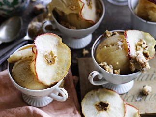 TOFFEE APPLE SORBET WITH PECAN ROSEMARY CRUMBLE