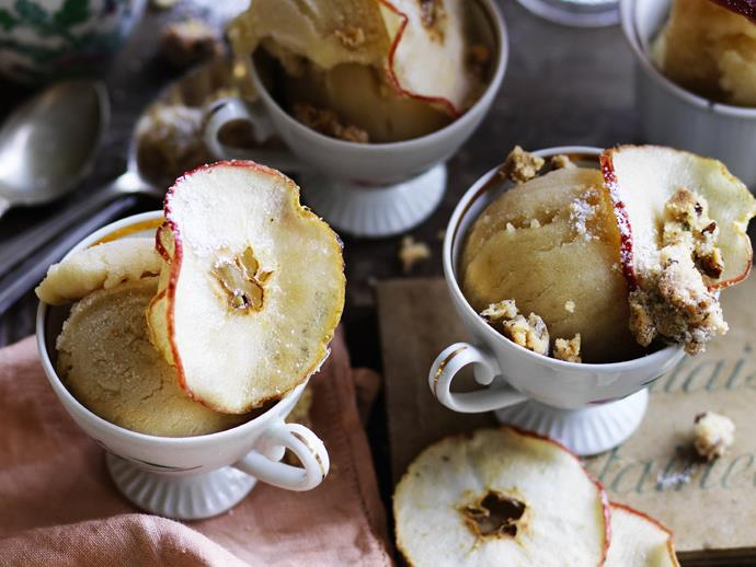 "There are some occasions that justify pulling out the big guns. When an event calls for a spectacular dessert you can't go past these little cups of [toffee apple sorbet with pecan rosemary crumble](https://www.womensweeklyfood.com.au/recipes/toffee-apple-sorbet-with-pecan-rosemary-crumble-15163|target=""_blank"")."