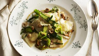 Three cheese ravioli with brown butter