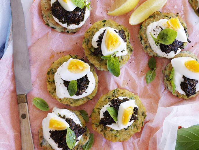 "[Zucchini fritters with pesto and egg recipe.](https://www.womensweeklyfood.com.au/recipes/zucchini-fritters-with-pesto-and-egg-9451|target=""_blank"")"