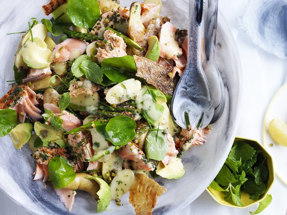 "**[Potato and salmon salad with mustardy dressing](https://www.womensweeklyfood.com.au/recipes/potato-and-salmon-salad-with-mustardy-dressing-3616|target=""_blank"")**  With fall-apart salmon and crisp potato pieces you'll never want a simple garden salad again."