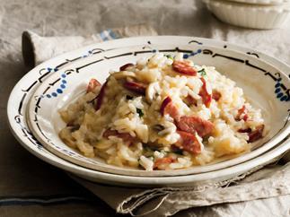 cheesy chilli mushroom and chorizo risotto