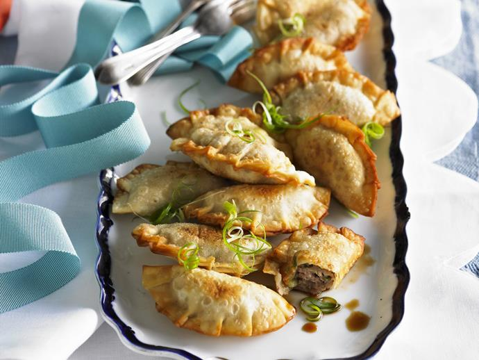 "**Pork dumplings:** Deep fried and wonderfully crispy, Chinese pork dumplings are brilliant served with a light soy dipping sauce. **[Get the recipe here.](https://www.womensweeklyfood.com.au/recipes/pork-dumplings-3633|target=""_blank"")**"