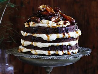 Coffee hazelnut cake with marsala dates