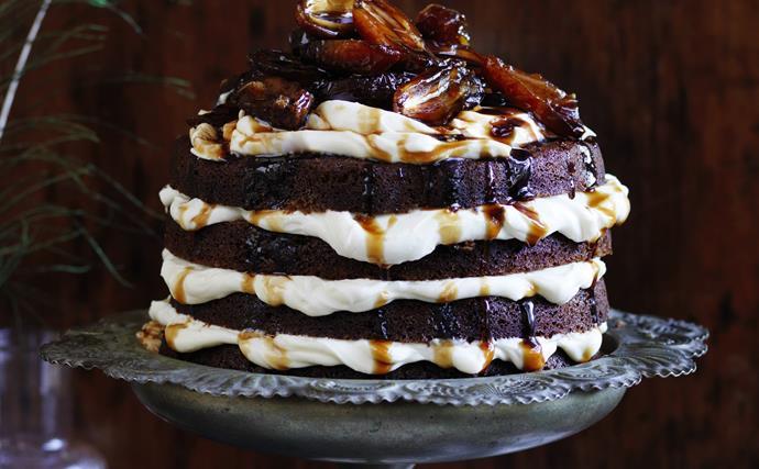 Coffee hazelnut cake with marsala dates