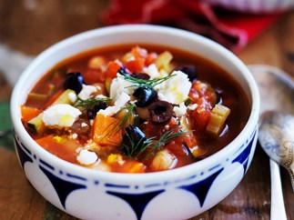 GREEK BUTTER BEAN SOUP WITH FETTA AND OLIVES
