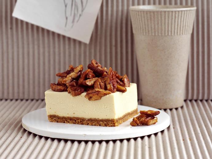 "**[Maple pecan cheesecake](https://www.womensweeklyfood.com.au/recipes/maple-pecan-cheesecake-3659|target=""_blank"")**"