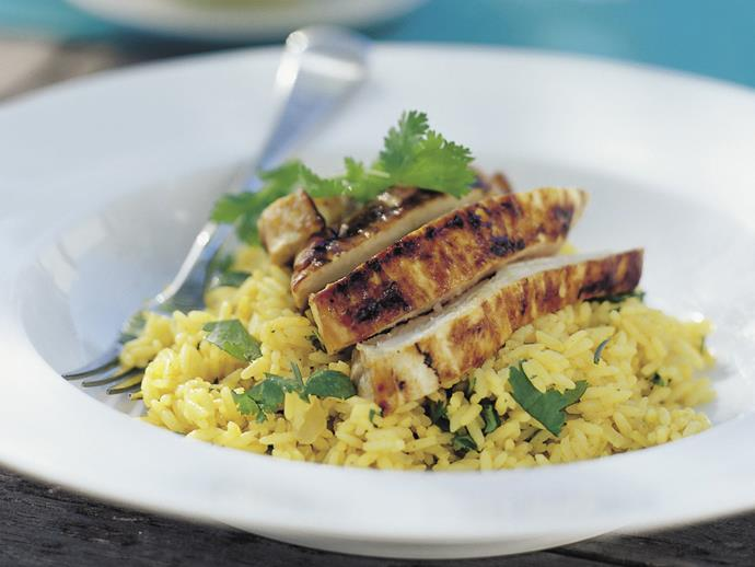"**[Chutney chicken breast with kashmiri pilaf](https://www.womensweeklyfood.com.au/recipes/chutney-chicken-breast-with-kashmiri-pilaf-9566|target=""_blank"")**"