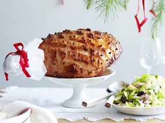 Bourbon-glazed ham with warm potato and celery salad