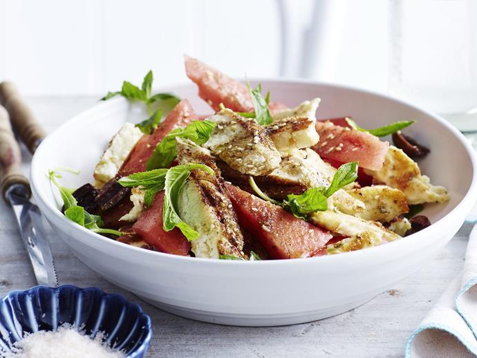 "**[Za´atar chicken with haloumi & watermelon salad](https://www.womensweeklyfood.com.au/recipes/zaatar-chicken-with-haloumi-and-watermelon-salad-8955|target=""_blank"")**  Za'atar chicken, a Middle Eastern spice mixture, salad with haloumi and watermelon salad."