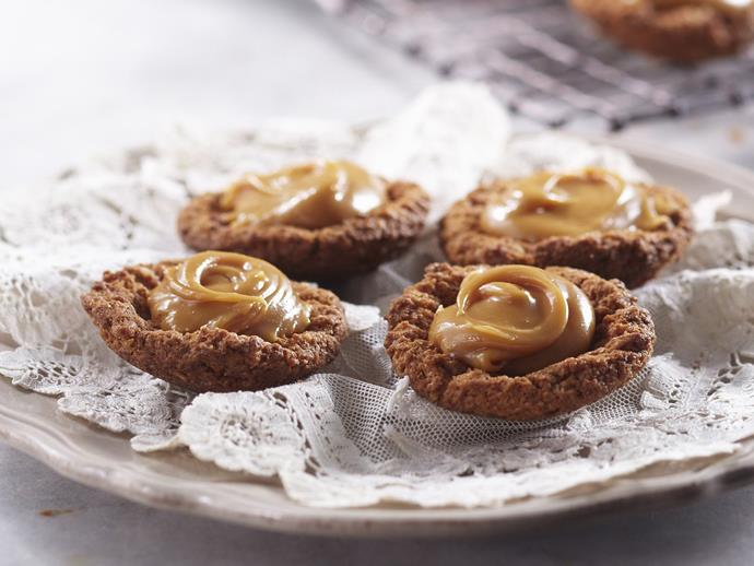 "**[Caramel tarts](https://www.womensweeklyfood.com.au/recipes/caramel-tarts-9025|target=""_blank"")**  These tasty bite-sized treats are made with a super simple biscuit base (no crumbling required)."