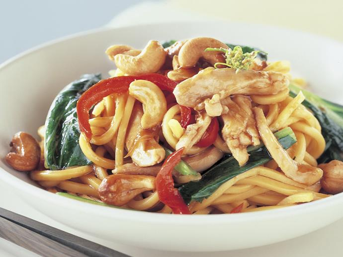 "**[Teriyaki chicken and cashew stir-fry with noodles](https://www.womensweeklyfood.com.au/recipes/teriyaki-chicken-and-cashew-stir-fry-with-noodles-9053|target=""_blank"")**"