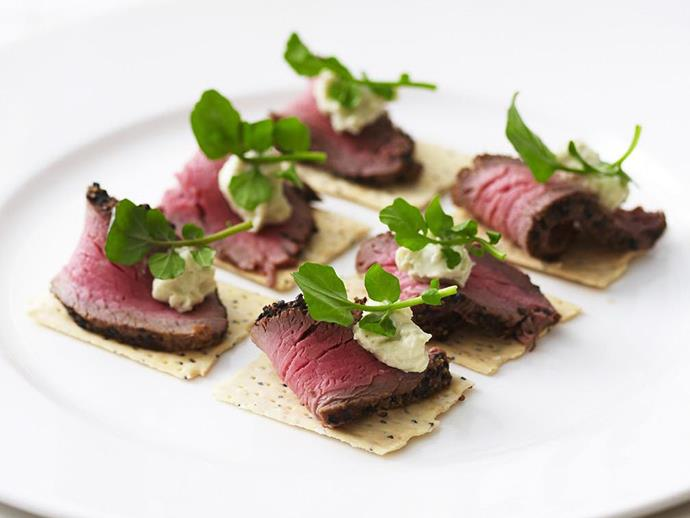 """**[Peppered beef and blue cheese canapés](https://www.womensweeklyfood.com.au/recipes/peppered-beef-and-blue-cheese-canapes-3733 target=""""_blank"""")**"""