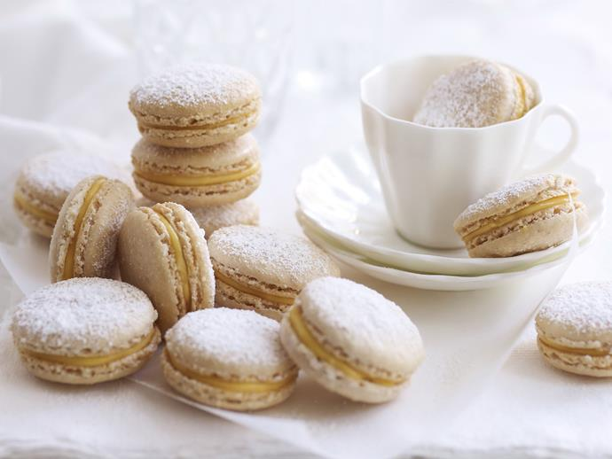 """[**Cinnamon eggnog macarons**](http://www.foodtolove.com.au/recipes/cinnamon-eggnog-macarons-24894