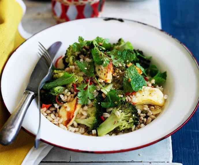 roasted broccoli with barley and haloumi