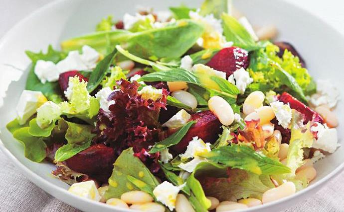 BAKED BEETROOT SALAD WITH CANNELLINI BEANS, FETTA AND MINT