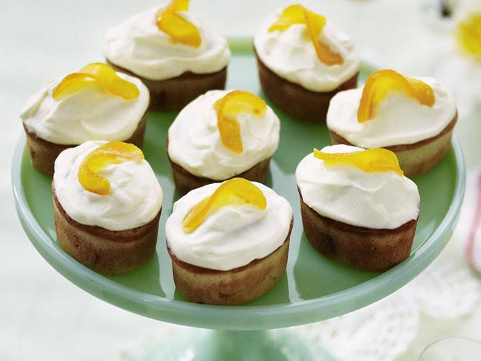 "**[Peach friands with orange mascarpone frosting](https://www.womensweeklyfood.com.au/recipes/peach-friands-with-orange-mascarpone-frosting-3772|target=""_blank"")**"