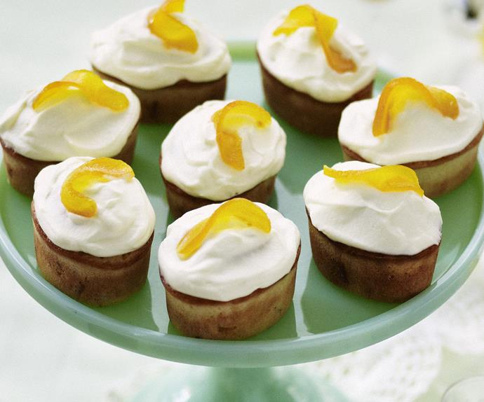 peach friands with orange mascarpone frosting