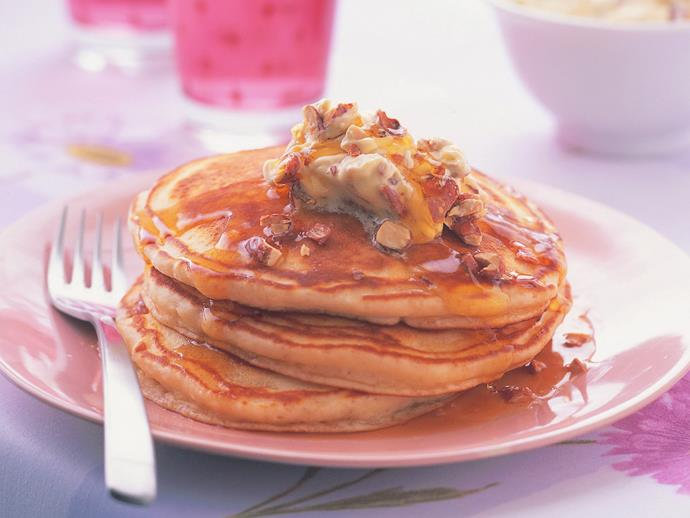 "**[Buttermilk pancakes with whipped praline butter](https://www.womensweeklyfood.com.au/recipes/buttermilk-pancakes-with-whipped-praline-butter-9135|target=""_blank"")**  Spoil your family and friends this weekend with stacks of these glorious buttermilk pancakes with maple syrup and whipped praline butter."