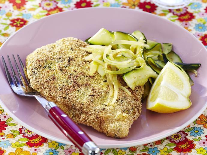 "**[Polenta-coated chicken](http://www.womensweeklyfood.com.au/recipes/polenta-coated-chicken-3778|target=""_blank"")**"