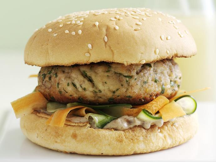 "**[Asian burgers](https://www.womensweeklyfood.com.au/recipes/asian-burgers-9146|target=""_blank"")** East meets West in this delicious Asian-style chicken burger with carrot, cucumber and peanut satay."