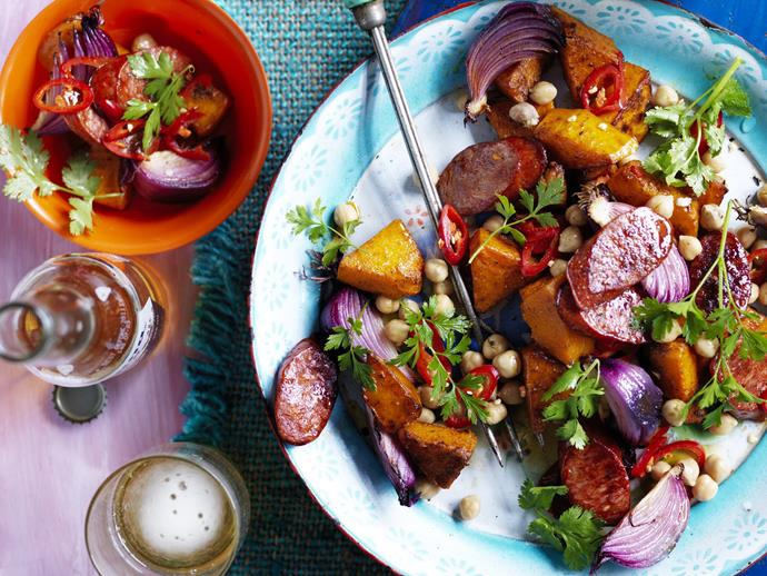 "An exquisite [salad of barbecued chorizo, chickpea and pumpkin](https://www.womensweeklyfood.com.au/recipes/chorizo-chickpea-and-pumpkin-salad-9172|target=""_blank"") with a sweet and sour sherry vinegar dressing."