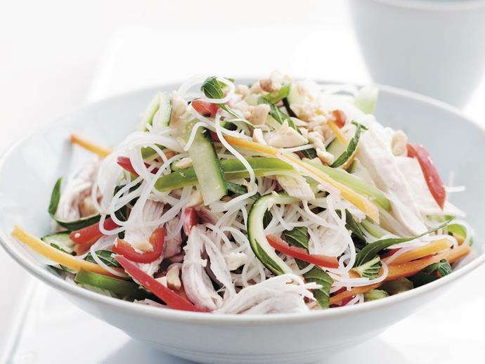"**[Shredded chicken salad](https://www.womensweeklyfood.com.au/recipes/shredded-chicken-salad-9213|target=""_blank"")**  You can tell just by looking at this salad that it will be fresh, light and tasty on the tongue. Chicken cooked in this way should stay moist and juicy, don't be tempted to boil rapidly or cook it for too long or it will be tough."