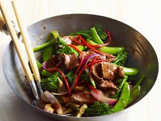 five-spice lamb and chilli stir-fry with greens