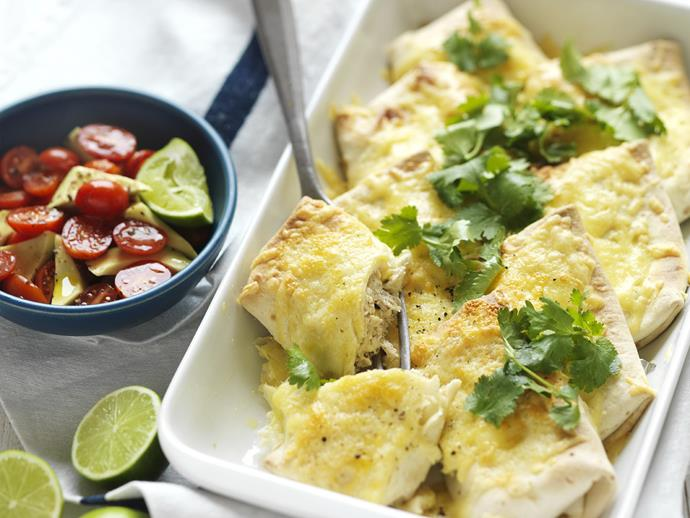 """**[Creamy chicken & corn burritos](https://www.womensweeklyfood.com.au/recipes/creamy-chicken-and-corn-burritos-8686