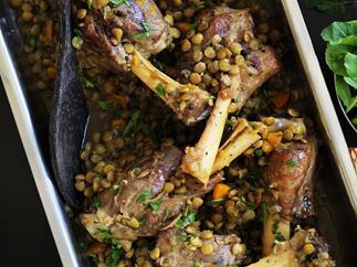lamb shanks and lentils