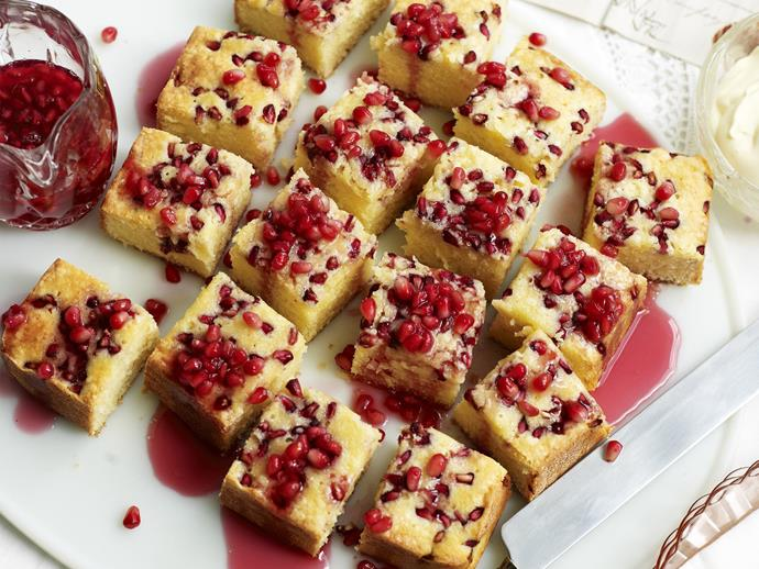 """**[Pomegranate syrup cake](https://www.womensweeklyfood.com.au/recipes/pomegranate-syrup-cake-3540