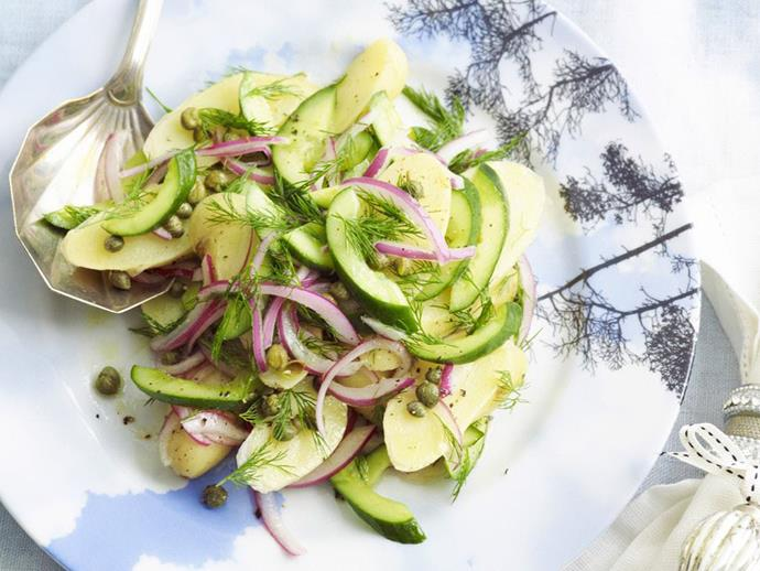 "**[Warm kipfler and cucumber salad with dill](https://www.womensweeklyfood.com.au/recipes/warm-kipfler-and-cucumber-salad-with-dill-8755|target=""_blank"")**"