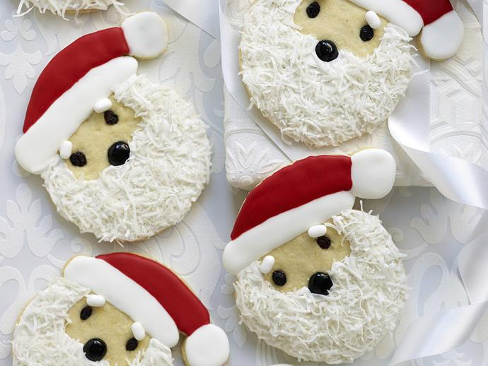 "**Giant Santa Claus Christmas cookies** <br><br> Our Santa Claus Christmas cookies recipe is an adorable homemade Christmas food gift or delightful treat for your Christmas Day dessert spread. <br><br> [**Read the full recipe here**](https://www.womensweeklyfood.com.au/recipes/giant-father-christmas-cookies-3572|target=""_blank"")"
