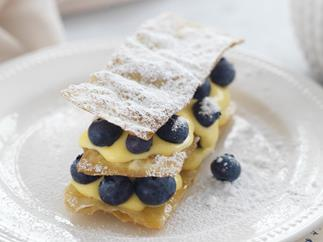 lemon curd and blueberry mille feuille
