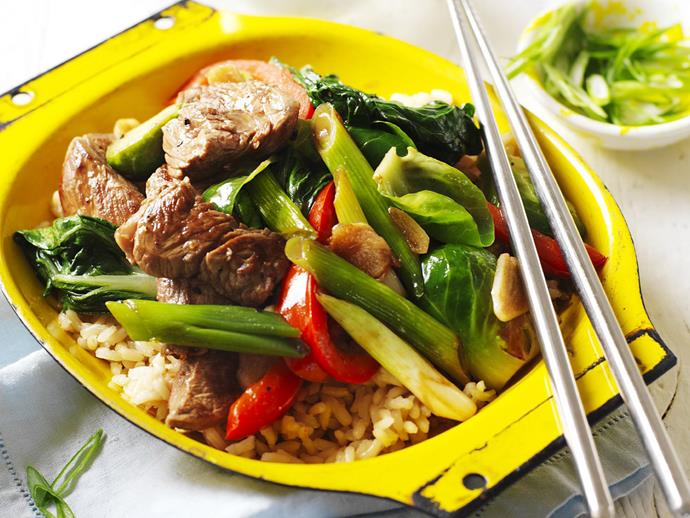 """**[Pepper beef stir-fry with brussels sprouts](https://www.womensweeklyfood.com.au/recipes/pepper-beef-stir-fry-with-brussels-sprouts-3582